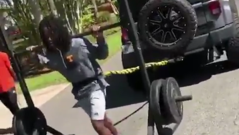 WATCH: Saints Kamara pulls Jeep for offseason workout
