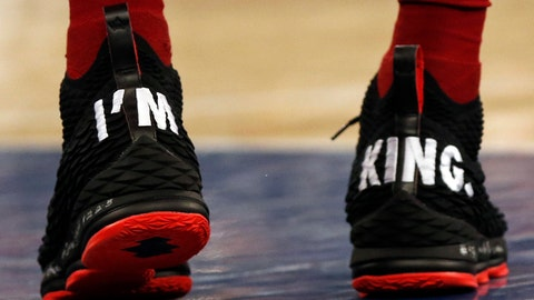 Apr 9, 2018; New York, NY, USA; The sneakers of Cleveland Cavaliers forward LeBron James (23) are seen against the New York Knicks during the second half at Madison Square Garden. Mandatory Credit: Adam Hunger-USA TODAY Sports