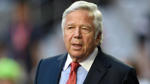 Feb 1, 2015; Glendale, AZ, USA; New England Patriots owner Robert Kraft before Super Bowl XLIX against the Seattle Seahawks at University of Phoenix Stadium. The Patriots defeated the Seahawks 28-24. Mandatory Credit: Kyle Terada-USA TODAY Sports