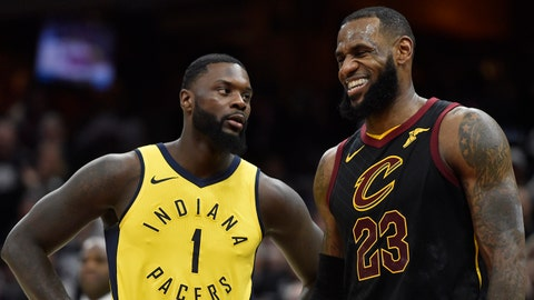 Apr 15, 2018; Cleveland, OH, USA; Indiana Pacers guard Lance Stephenson (1) stands beside Cleveland Cavaliers forward LeBron James (23) in the third quarter in game one of the first round of the 2018 NBA Playoffs at Quicken Loans Arena. Mandatory Credit: David Richard-USA TODAY Sports