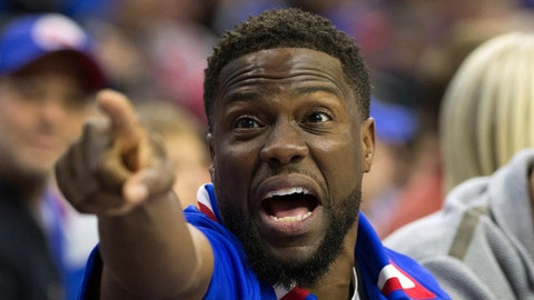 Apr 16, 2018; Philadelphia, PA, USA; Comedian and actor Kevin Hart reacts during the first quarter of action between the Philadelphia 76ers and the Miami Heat in game two of the first round of the 2018 NBA Playoffs at Wells Fargo Center. Mandatory Credit: Bill Streicher-USA TODAY Sports