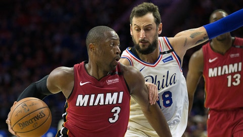 Apr 16, 2018; Philadelphia, PA, USA; Miami Heat guard Dwyane Wade (3) drives against Philadelphia 76ers guard Marco Belinelli (18) during the second quarter in game two of the first round of the 2018 NBA Playoffs at Wells Fargo Center. Mandatory Credit: Bill Streicher-USA TODAY Sports