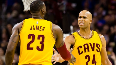 CLEVELAND, OH - MARCH 25: LeBron James #23 of the Cleveland Cavaliers and Richard Jefferson #24 celebrate after a play during the first half against the Washington Wizards at Quicken Loans Arena on March 25, 2017 in Cleveland, Ohio. NOTE TO USER: User expressly acknowledges and agrees that, by downloading and/or using this photograph, user is consenting to the terms and conditions of the Getty Images License Agreement. (Photo by Jason Miller/Getty Images)