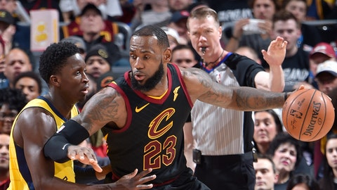 CLEVELAND, OH - APRIL 18: LeBron James #23 of the Cleveland Cavaliers handles the ball against Victor Oladipo #4 of the Indiana Pacers in Game Two of Round One during the 2018 NBA Playoffs on April 18, 2018 at Quicken Loans Arena in Cleveland, Ohio. NOTE TO USER: User expressly acknowledges and agrees that, by downloading and/or using this photograph, user is consenting to the terms and conditions of the Getty Images License Agreement. Mandatory Copyright Notice: Copyright 2018 NBAE (Photo by David Liam Kyle/NBAE via Getty Images)