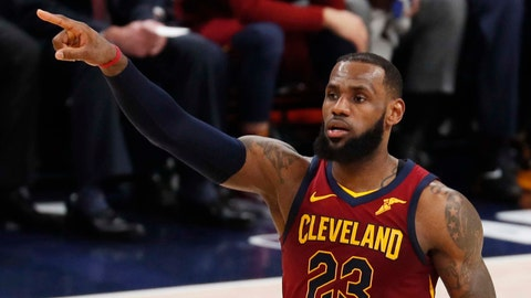 Apr 20, 2018; Indianapolis, IN, USA; Cleveland Cavaliers forward LeBron James (23) brings the ball up court against the Indiana Pacers during the fourth quarter in game three of the first round of the 2018 NBA Playoffs at Bankers Life Fieldhouse. Mandatory Credit: Brian Spurlock-USA TODAY Sports