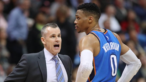 Mar 13, 2018; Atlanta, GA, USA; Oklahoma City Thunder head coach Billy Donovan talks with guard Russell Westbrook (0) during the fourth quarter against the Atlanta Hawks at Philips Arena. Mandatory Credit: Jason Getz-USA TODAY Sports