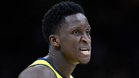 Apr 15, 2018; Cleveland, OH, USA; Indiana Pacers guard Victor Oladipo (4) reacts after a basket in the fourth quarter against the Cleveland Cavaliers in game one of the first round of the 2018 NBA Playoffs at Quicken Loans Arena. Mandatory Credit: David Richard-USA TODAY Sports