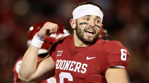 Oct 28, 2017; Norman, OK, USA; Oklahoma Sooners quarterback Baker Mayfield (6) reacts during the game against the Texas Tech Red Raiders at Gaylord Family - Oklahoma Memorial Stadium. Mandatory Credit: Kevin Jairaj-USA TODAY Sports
