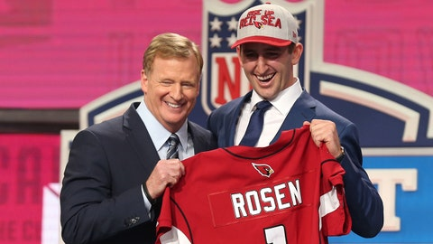 Apr 26, 2018; Arlington, TX, USA; Josh Rosen is selected as the number eleven overall pick to the Arizona Cardinals in the first round of the 2018 NFL Draft at AT&T Stadium. Mandatory Credit: Matthew Emmons-USA TODAY Sports