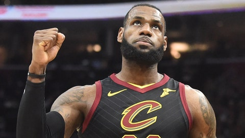 Apr 29, 2018; Cleveland, OH, USA; Cleveland Cavaliers forward LeBron James (23) reacts after a basket during the first half against the Indiana Pacers in game seven of the first round of the 2018 NBA Playoffs at Quicken Loans Arena. Mandatory Credit: Ken Blaze-USA TODAY Sports