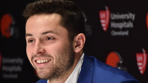 Apr 27, 2018; Berea, OH, USA; Cleveland Browns first round and overall number one pick in the NFL draft Baker Mayfield answers questions during a press conference at the Cleveland Browns training facility. Mandatory Credit: Ken Blaze-USA TODAY Sports