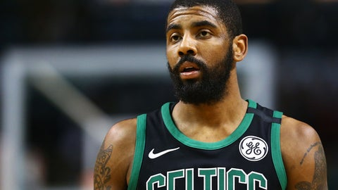 BOSTON, MA - MARCH 11:  Kyrie Irving #11 of the Boston Celtics looks on during a game against the Indiana Pacers at TD Garden on March 11, 2018 in Boston, Massachusetts. (Photo by Adam Glanzman/Getty Images)