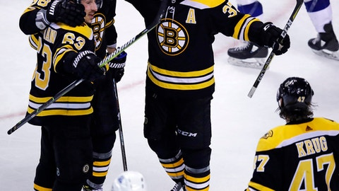 Boston Bruins center Patrice Bergeron, center, is congratulated after his goal against Tampa Bay Lightning goaltender Andrei Vasilevskiy during the third period of an NHL hockey game in Boston, Thursday, March 29, 2018. (AP Photo/Charles Krupa)