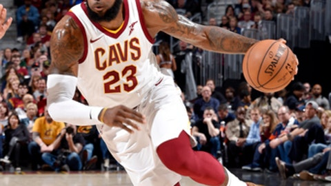 CLEVELAND, OH - MARCH 30:  LeBron James #23 of the Cleveland Cavaliers handles the ball during the game against the New Orleans Pelicans on March 30, 2018 at Quicken Loans Arena in Cleveland, Ohio. (Photo by David Liam Kyle/NBAE via Getty Images)