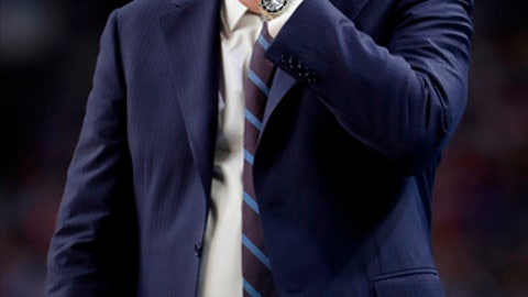 Kansas head coach Bill Self reacts during the second half in the semifinals of the Final Four NCAA college basketball tournament against Villanova, Saturday, March 31, 2018, in San Antonio. (AP Photo/Eric Gay)