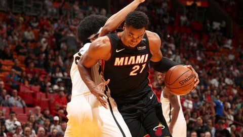 MIAMI, FL - MARCH 31:  Hassan Whiteside #21 of the Miami Heat drives to the basket against the Brooklyn Nets on March 31st, 2018 at American Airlines Arena in Miami, Florida. (Photo by Issac Baldizon/NBAE via Getty Images)