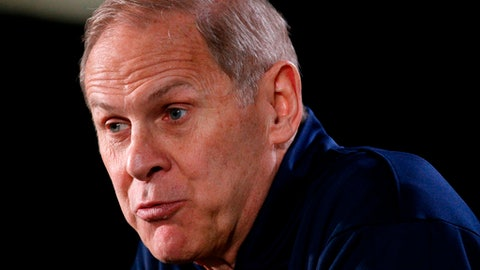 Michigan head coach John Beilein answers questions during a news conference for the championship game of the Final Four NCAA college basketball tournament, Sunday, April 1, 2018, in San Antonio. (AP Photo/Brynn Anderson)