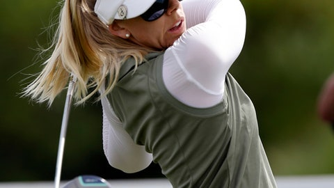 Pernilla Lindberg, of Sweden, hits from the the sixth tee during the final round of the LPGA Tour ANA Inspiration golf tournament at Mission Hills Country Club in Rancho Mirage, Calif., Sunday, April 1, 2018. (AP Photo/Alex Gallardo)
