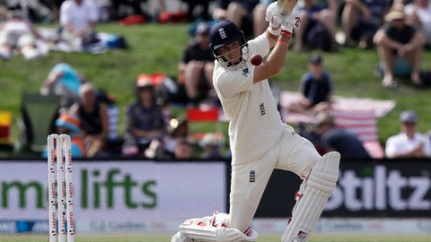 England's Joe Root bats during play on day four of the second cricket test against New Zealand at Hagley Oval in Christchurch, New Zealand, Monday, April 2, 2018. (AP Photo/Mark Baker)