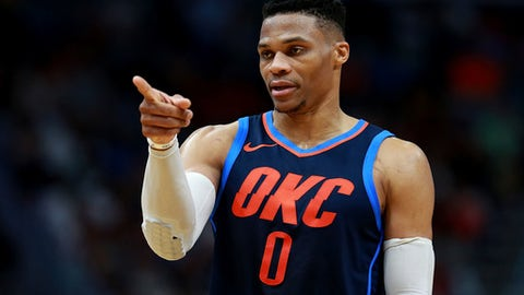 NEW ORLEANS, LA - APRIL 01:  Russell Westbrook #0 of the Oklahoma City Thunder reacts on the cour during the second half of a NBA game against the New Orleans Pelicans at the Smoothie King Center on April 1, 2018 in New Orleans, Louisiana. (Photo by Sean Gardner/Getty Images)