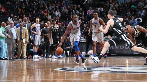 BROOKLYN, NY - APRIL 1:   Reggie Jackson #1 of the Detroit Pistons handles the ball against the Brooklyn Nets on April 1, 2018 at Barclays Center in Brooklyn, New York. (Photo by Nathaniel S. Butler/NBAE via Getty Images)