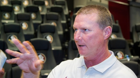 Florida State quarterbacks coach Randy Sanders talks during NCAA college football media day in Tallahassee, Fla., Sunday, Aug. 9, 2015. (AP Photo/Mark Wallheiser)