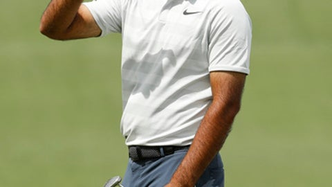 Shubhankar Sharma, of India, gestures on the seventh green during practice for the Masters golf tournament at Augusta National Golf Club, Monday, April 2, 2018, in Augusta, Ga. (AP Photo/Charlie Riedel)
