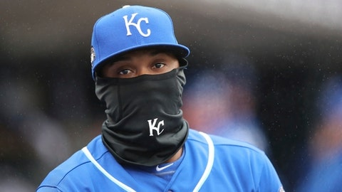 Kansas City Royals shortstop Alcides Escobar walks out of the dugout during the eighth inning of a baseball game against the Detroit Tigers, Tuesday, April 3, 2018, in Detroit. (AP Photo/Carlos Osorio)