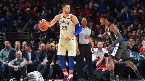 PHILADELPHIA, PA -  APRIL 3: Ben Simmons #25 of the Philadelphia 76ers controls the ball against the Brooklyn Nets at Wells Fargo Center on April 3, 2018 in Philadelphia, Pennsylvania (Photo by Jesse D. Garrabrant/NBAE via Getty Images)