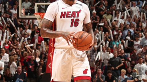 MIAMI, FL - APRIL 3: James Johnson #16 of the Miami Heat reacts to a play during the game against the Atlanta Hawks on April 3, 2018 at American Airlines Arena in Miami, Florida. (Photo by Issac Baldizon/NBAE via Getty Images)
