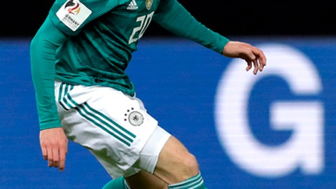 FILE - The March 27, 2018 file photo shows Germany's Julian Brandt during the international friendly soccer match between Germany and Brazil in Berlin, Germany. Bayer Leverkusen has warded off interest in Germany midfielder Julian Brandt by extending the 21-year-olds contract by two years to 2021. (AP Photo/Michael Sohn, file)