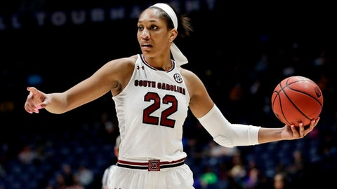 FILE - In this March 3, 2018, file photo, South Carolina forward A'ja Wilson plays against Georgia in the second half of an NCAA college basketball semifinal game at the women's Southeastern Conference tournament, in Nashville, Tenn. Wilson won every major college award and is the consensus top pick i the WNBA Draft. (AP Photo/Mark Humphrey, File)