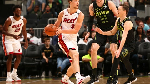 ATLANTA, GA - APRIL 4: Kelly Olynyk #9 of the Miami Heat handles the ball against the Atlanta Hawks on April 4, 2018 at Philips Arena in Atlanta, Georgia.  (Photo by Kevin Liles/NBAE via Getty Images)