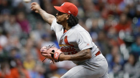 St. Louis Cardinals starting pitcher Carlos Martinez throws to a Milwaukee Brewers batter during the eighth inning of a baseball game Wednesday, April 4, 2018, in Milwaukee. (AP Photo/Jeffrey Phelps)