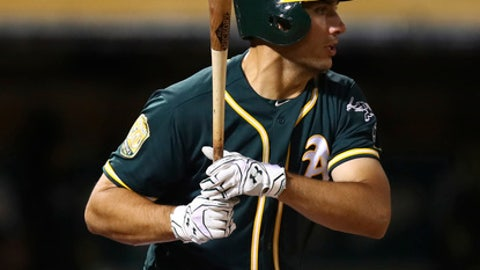 Oakland Athletics' Matt Olson watches his RBI single off Texas Rangers' Jesse Chavez during the seventh inning of a baseball game Wednesday, April 4, 2018, in Oakland, Calif. (AP Photo/Ben Margot)