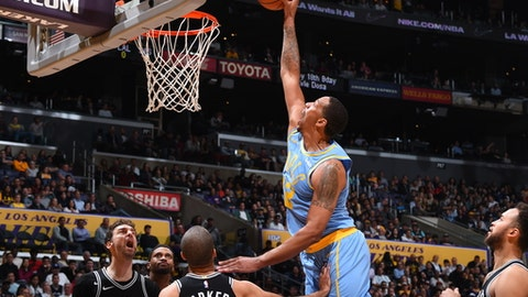 LOS ANGELES, CA - APRIL 4:  Channing Frye #12 of the Los Angeles Lakers dunks against the San Antonio Spurs on April 4, 2018 at STAPLES Center in Los Angeles, California. (Photo by Andrew D. Bernstein/NBAE via Getty Images)
