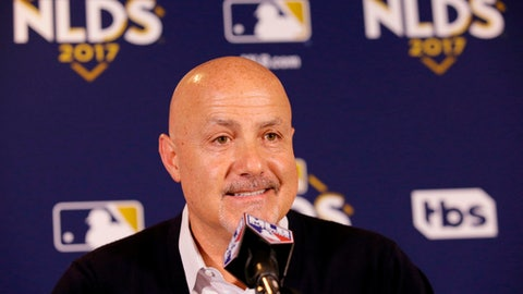 FILE - In this Oct. 11, 2017, file photo, Washington Nationals general manager Mike Rizzo speaks during a news conference before Game 4 of baseball's National League Division Series against the Chicago Cubs in Chicago. The Nationals have agreed to a two-year contract extension with general manager Mike Rizzo. The team announced the deal on Thursday, April 5, 2018, hours before its home opener against the New York Mets.(AP Photo/Nam Y. Huh, File)