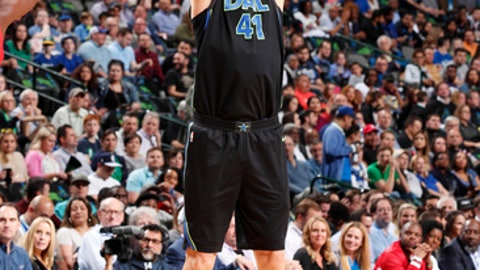DALLAS, TX - APRIL 3:  Dirk Nowitzki #41 of the Dallas Mavericks shoots the ball against the Portland Trail Blazers on April 3, 2018 at the American Airlines Center in Dallas, Texas. (Photo by Danny Bollinger/NBAE via Getty Images)