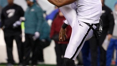 Oakland Raiders' Marquette King punts the ball during an NFL football game against the Philadelphia Eagles, Monday, Dec. 25, 2017, in Philadelphia. Philadelphia won 19-10. (AP Photo/Chris Szagola)