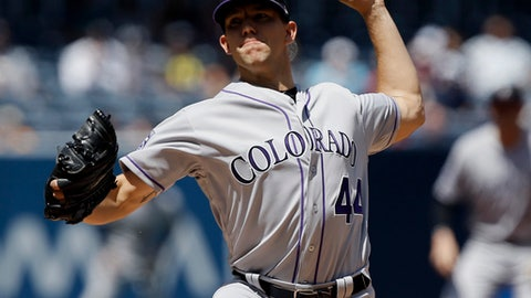 Colorado Rockies starting pitcher Tyler Anderson throws to the plate during the first inning of a baseball game against the San Diego Padres in San Diego, Thursday, April 5, 2018. (AP Photo/Alex Gallardo)