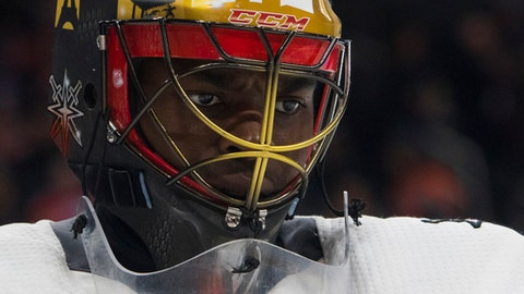 Vegas Golden Knights goalie Malcolm Subban (30) looks on during second-period NHL hockey game action against the Edmonton Oilers in Edmonton, Alberta, Thursday, April 5, 2018. (Amber Bracken/The Canadian Press via AP)