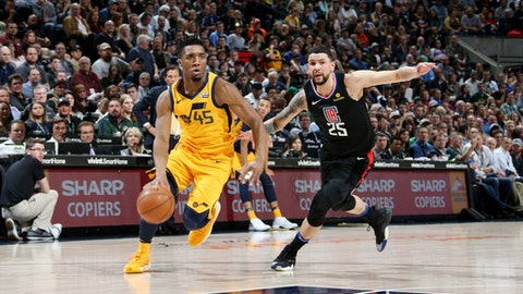 SALT LAKE CITY, UT - APRIL 5:  Donovan Mitchell #45 of the Utah Jazz handles the ball during the game against the LA Clippers on April 5, 2018 at vivint.SmartHome Arena in Salt Lake City, Utah. (Photo by Melissa Majchrzak/NBAE via Getty Images)