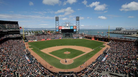 AT&T Park is seen from an overhead view as the San Francisco Giants play the Milwaukee Brewers during a baseball game Wednesday, June 15, 2016, in San Francisco. (AP Photo/Marcio Jose Sanchez)