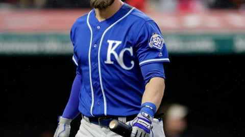 Kansas City Royals' Alex Gordon reacts after striking out to Cleveland Indians relief pitcher Cody Allen during the ninth inning of a baseball game Friday, April 6, 2018, in Cleveland. The Indians won 3-2. (AP Photo/Tony Dejak)