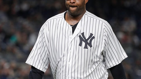 New York Yankees pitcher CC Sabathia walks off the field at the end of the top of the fourth inning of a baseball game against the Baltimore Orioles, Friday, April 6, 2018, in New York. (AP Photo/Julie Jacobson)