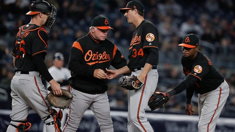 Baltimore Orioles pitcher Kevin Gausman (34) is relieved from the game by manager Buck Showalter during the sixth inning of a baseball game against the New York Yankees, Friday, April 6, 2018, in New York. (AP Photo/Julie Jacobson)