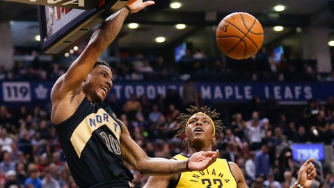 TORONTO, ON - APRIL 6  -  Toronto Raptors guard DeMar DeRozan (10) makes the dunk past Indiana Pacers center Myles Turner (33) in the 2nd quarter as the Toronto Raptors host the Indiana Pacers at  Air Canada Centre, Toronto.  April 4, 2018.  April 6, 2018. Bernard Weil/Toronto Star        (Bernard Weil/Toronto Star via Getty Images)