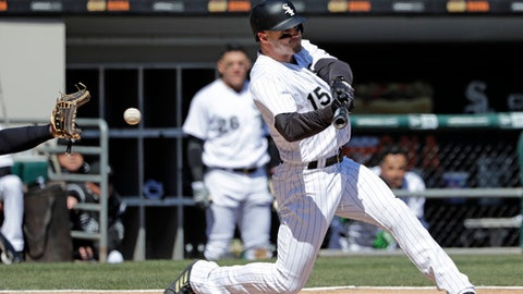 Chicago White Sox's Adam Engel strikes out swinging during the second inning of a baseball game against the Detroit Tigers, Saturday, April 7, 2018, in Chicago. (AP Photo/Nam Y. Huh)