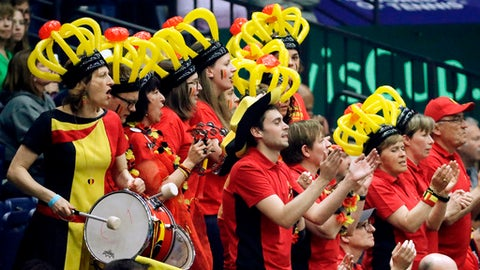 Fans of the Belgium team cheer during a Davis Cup quarterfinal doubles tennis match between Belgium and the United States Saturday, April 7, 2018, in Nashville, Tenn. (AP Photo/Mark Humphrey)