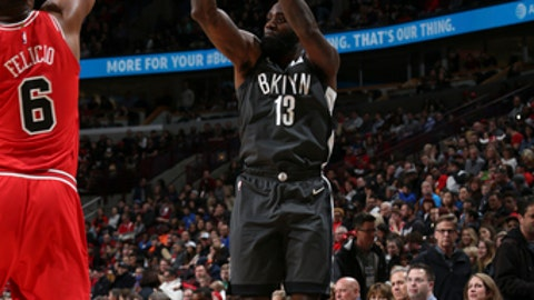 CHICAGO, IL - APRIL 7: Quincy Acy #13 of the Brooklyn Nets shoots the ball against the Chicago Bulls on April 7, 2018 at the United Center in Chicago, Illinois. (Photo by Gary Dineen/NBAE via Getty Images)